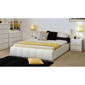 Fantasy ágykeret fehér textilbőrrel, 160 x 200as fekvőfelülettel