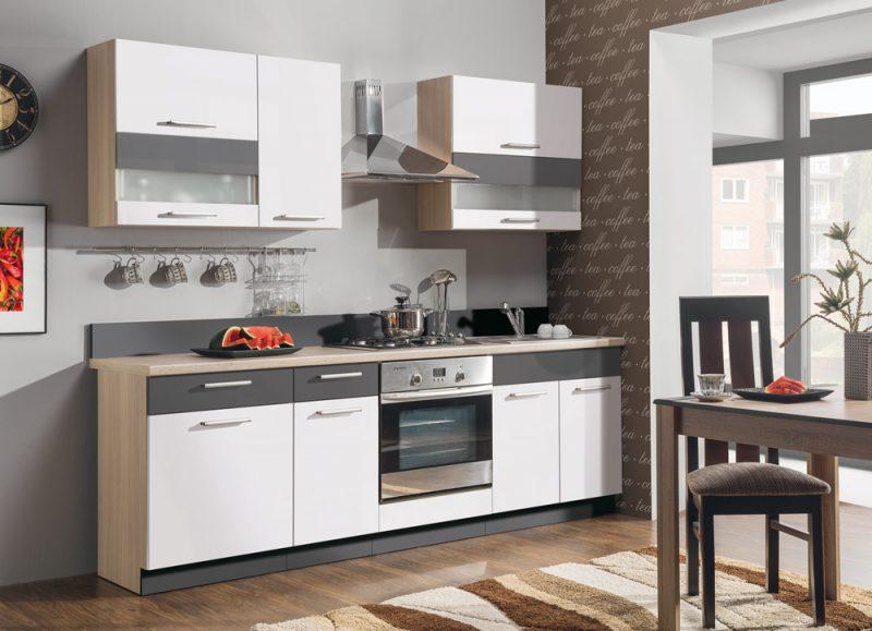Modena konyha fényes fehér / grafit színben